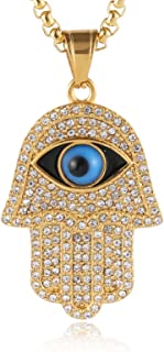 HZMAN 18k Gold Plated Iced Out CZ Stainless Steel Blue Evil Eye Beads Fatima Hamsa Hand Pendant Necklace