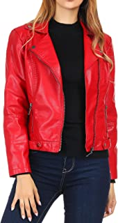 d46cfa096f577 Amazon.com  Reds - Leather   Faux Leather   Coats