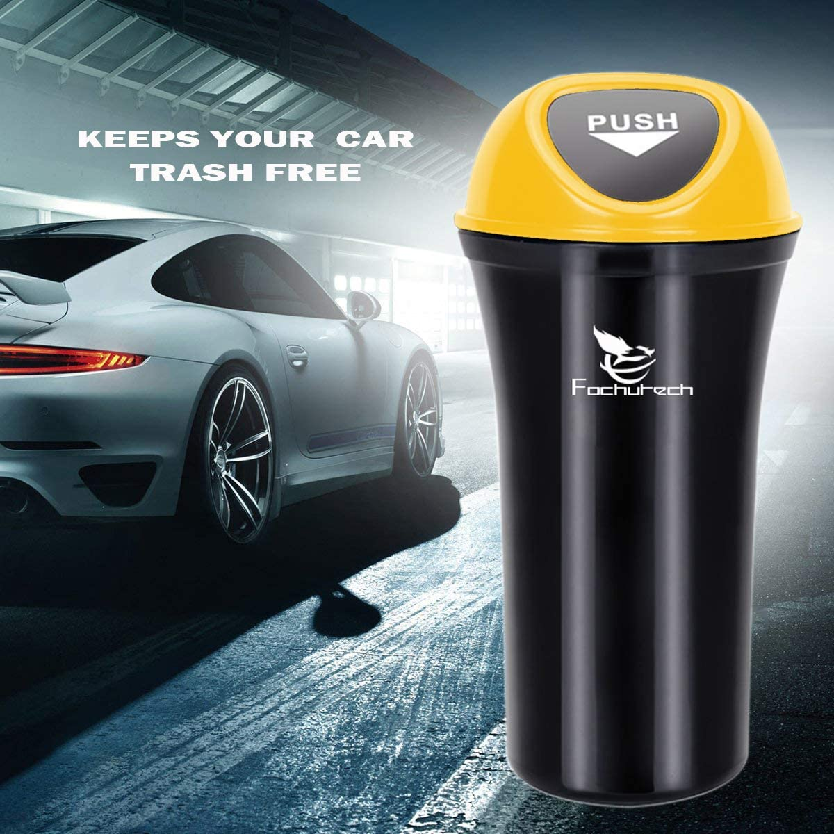 Car Trash Can with Lid Small Car Trash Bin Portable Vehicle Auto Car Garbage Can Bin Trash Container Fits Cup Holder Console Door Pocket Home Office Use 2 Packs Black