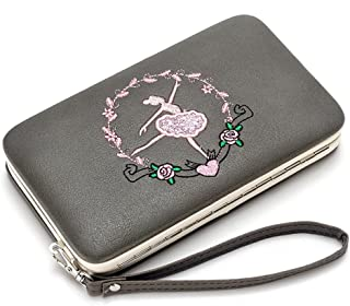 Wallet Woman Leather Long Rigid Cell Phone Holder Colorful Colored Coin Purse Embroidered Multifunction Metal (Color : Grey, Size : One Size)