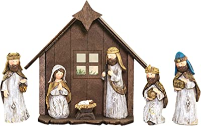 Hanna's Handiworks Shimmer Mary Joseph Gold Tone 8 x 7 Resin Stone Christmas Nativity Figurine Set