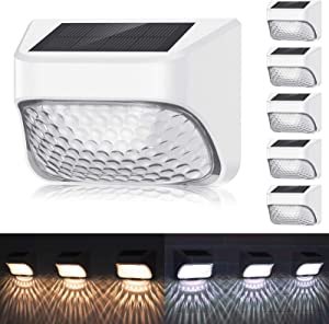 Permanent On All Night Solar Outdoor Lights 6 Pack, 2 Lighting Modes, Warm White/Cool White, IP65 Waterproof, Decorative Lighting for Fence Deck Garden Yard Stair Patio Post Pathway Steps