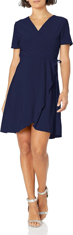 Star Vixen Women's Petite Short Sleeve Ballerina Wrap Dress