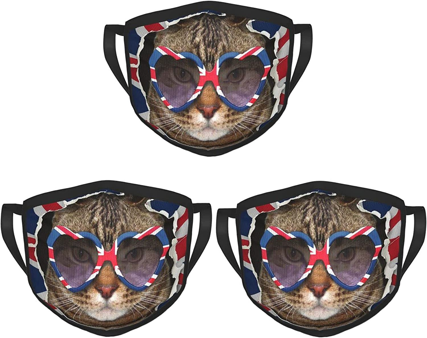 Balaclava Earmuffs Cat Behind Uk Flag Funny Heart Sunglasses Face Mouth Cover Mask Reusable Dust Scarf Towel Cover Headwrap