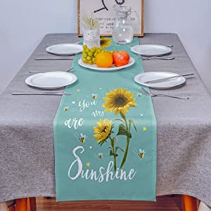 COLORSUM Linen Burlap Table Runner Dresser Scarves Rustic Sunflower Bees You are My Sunshine Emerald Home Dining Table Decor Table Runner Mat for Farmhouse, Wedding, Party, BBC- 13x120 in