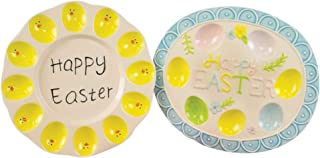 Easter Sunshine Yellow 12 x 11 Ceramic Deviled Egg Serving Plates Set of 2