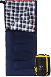 REDCAMP Cotton Flannel Sleeping Bags for Camping, 41F/5C 3-4 Season Warm and Comfortable, Envelope Blue with 2/3/4lbs Filling (75