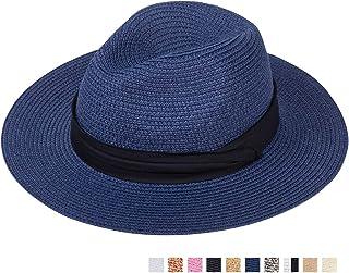 207259796763fd Maylisacc Wide Brim Straw Panama Hat Sun Hats for Women and Men Roll Up  Beach-