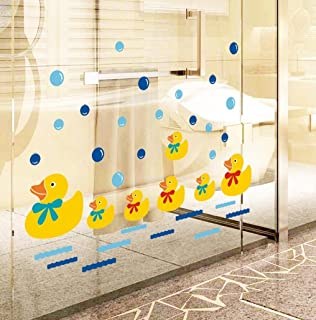BIBITIME Baby Bathroom Glass Door Cute Yellow Ducks Wall Art Stickers Bubble Wall Decals for Nursery Kids Room
