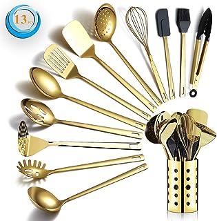 Berglander Ensemble d'ustensiles de Cuisine en Acier Inoxydable Or 13 pièces avec placage en Or Titane, Ensemble d'outils ...