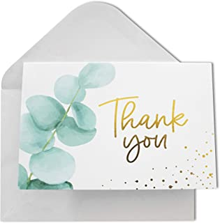 Thank You Cards with Envelopes | 48 Gold Foil Eucalyptus | Wedding, Bridal Shower, Baby Shower Cards 4x6 inches