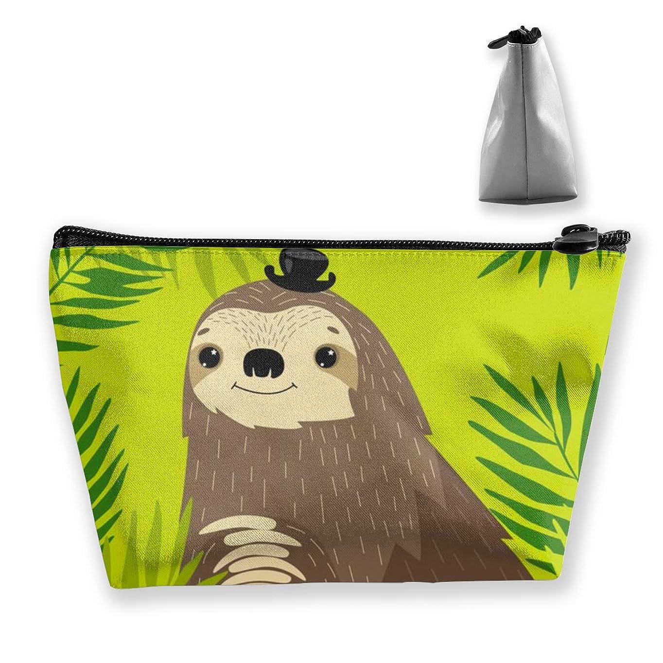 ピクニックグリルパールトロピカルパームナマケモノ ペンケース文房具バッグ大容量ペンケース化粧品袋収納袋男の子と女の子多機能浴室シャワーバッグ旅行ポータブルストレージバッグ