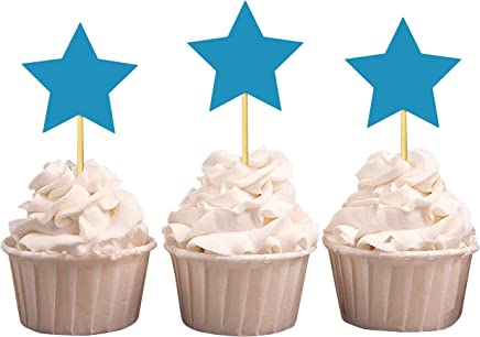 Darling Souvenir Star Shape Cupcake Toppers, Birthday Wedding Party Dessert Decorations - Pack of 40