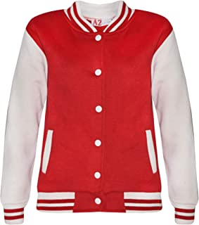 Kids Girls Boys Baseball Jacket Varsity Style Plain Red School Jackets Top 2-13Y