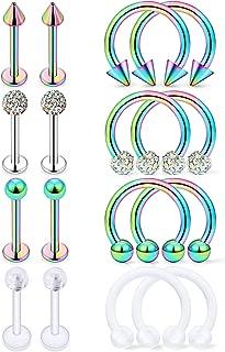 Hoeudjo 16Pcs 16G Surgical Steel Lip Rings Clear Diamond CZ Labret Studs Tragus Horseshoe Ring Helix Hoop Earring Body Jewelry Piercing Retainer for Women Men 8mm