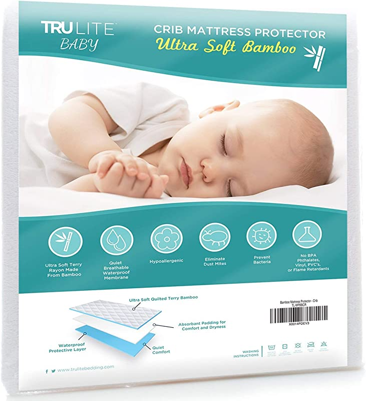 TRU Lite Bedding Waterproof Baby Crib Mattress Cover Hypoallergenic Toddler Mattress Protector Bamboo Rayon Fiber Quilted Terry Fitted Sheet Protection From Dust Mites Mold