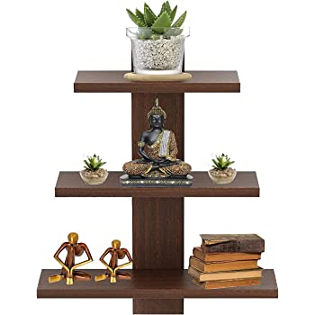 Furniture Cafe Wall Decor Book Shelf/Wall Display Rack (3 Shelves) - Ideal for Gift (Brown)