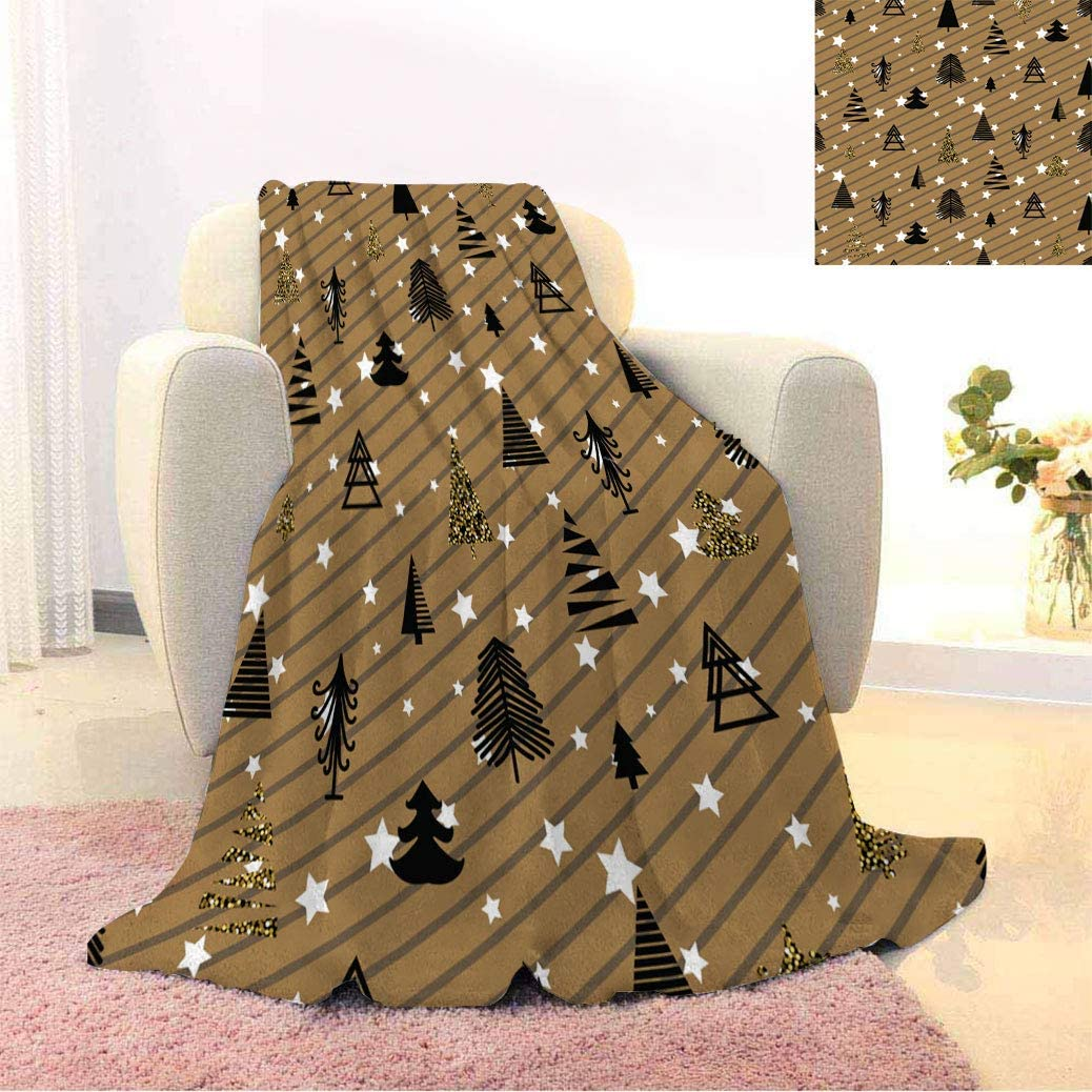 Christmas Decor Warm Print 35% OFF Popular product Blankets and Black Wi Gold