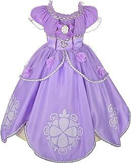 Lito Angels Fille Princesse Sofia Robe Costume Déguisement Anniversaire Fête Halloween Noël Partie Carnaval Cosplay ,8-9 a...