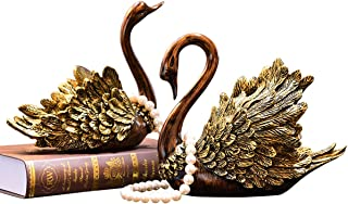DABENXIONG Swans Statue Table Figurine Home Decor Antique Style Sculpture for Living Room and Bedroom Wedding Gift - A Pair