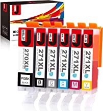 JetSir Compatible Ink Cartridges Replacement for Canon 270 271 XL 6 Color High Yield (PGBK/Black/Cyan/Magenta/Yellow/Gra...