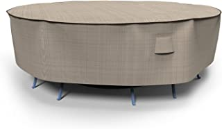Budge P5A02PM1 English Garden Round Patio Table and Chairs Combo Cover, Large, Two-Tone Tan