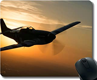Gaming Mouse Pad Custom,P 51 fighter Warplane Mouse Mat,Non-Slip Rubber Base Mousepad