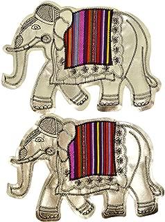 LABANCA 2pcs Gold Elephant Pattern DIY Clothing Patch Decorative Applique Sew-on Patch