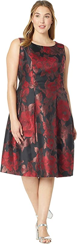 Plus Size Tea-Length Floral Metallic Jacquard Dress
