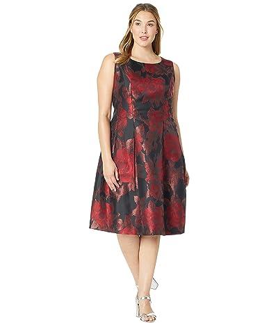 Tahari by ASL Plus Size Tea-Length Floral Metallic Jacquard Dress (Black/Red/Copper) Women