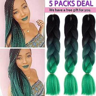 MSCHARM 5 Packs Green Braiding Hair Extensions Ombre Box Braids 24 Inch Jumbo Braiding Hair Twist Crochet Braids Synthetic Fiber Hair for Women and Girls 100g/Pack (Black-Dark Green-Deep Green))