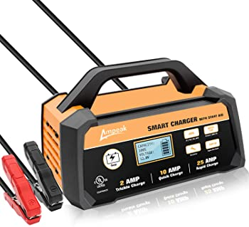 Ampeak 2/10/25A Smart Battery Charger/Maintainer 12V Fully Automatic with Engine Start