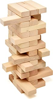 Timber Tower Wood Block Stacking Game, 48 Piece Classic Wooden Blocks for Building, Toppling and Tumbling Games, Deluxe Stacking Game
