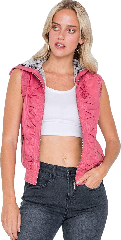 Shop & Buy Pink Vegan Leather Shirred Faux Fur Lining Draw String Tie Hood Detail Vest