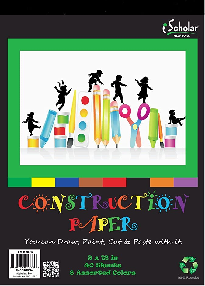 iScholar Construction Paper Tablet, 9x12 Inches, Assorted Colors, 40 Sheets per Tablet (30912)
