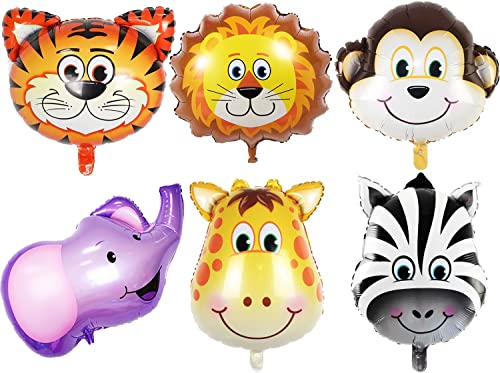 OuMuaMua Jungle Safari Animals Balloons - 6pcs 22 Inch Giant Zoo Animal Balloons Kit for Jungle Safari Animals Theme ...