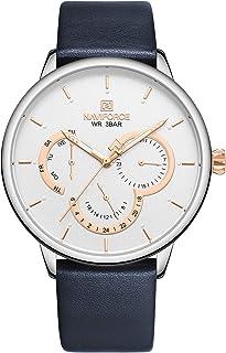 ساعة انالوج كلاسيكية بمينا بيضاء وسوار جلد اصلي للرجال من نافي فورس - NF3011-SWBE