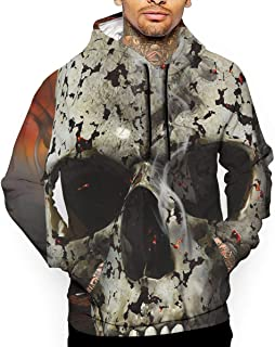 Dangerous Skull Art Illustration 3D All Printed Men's Hooded Pullover with Pocket Casual Hoodies Sweatshirt