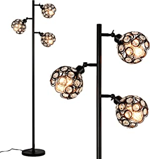 Rayofly Lampadaire en cristal - 3 ampoules - Réglable - Lampe de lecture avec interrupteur à pied - Hauteur : 162 cm - Pou...