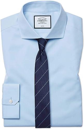 Chemise à Col Cutaway En Popeline Bleu Ciel Super Slim Fit Sans Repassage   Bleu Ciel (Poignet Mousquetaire)   16.5   34