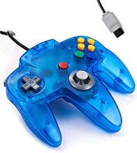 Classic Wired Controller for N64 Console, kiwitatá Retro N64 Video Game Pad Controller Joystick for N64 Games Clear Blue