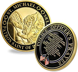 Indeep Police Officer Prayer Coin St. Michael Patron Saint Law Enforcement Military Challenge Coin