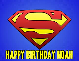 Superman Logo Image Photo Cake Topper Sheet Personalized Custom Customized Birthday Party - 1/4 Sheet - 74914