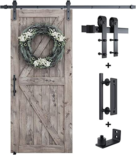 """discount SMARTSTANDARD 6.6FT lowest Sliding Barn Door Hardware Whole Kit (Include 6.6ft Track Kit & new arrival Pull Handle Set & Floor Guide), Smoothly and Quietly, Easy to Install, Fit 36""""-40"""" Wide Door Panel (J Shape) sale"""
