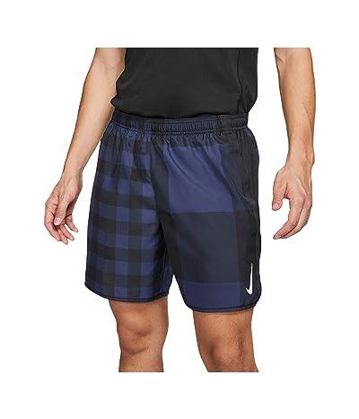 Nike 7 Challenger Shorts Brief Windrunner Pull-On (Midnight Navy/Black/Reflective Silver) Men