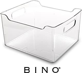 BINO Refrigerator, Freezer and Pantry Cabinet Storage Organizer Bin with Handles, Clear and Transparent Plastic Wide Nesting Food Container for Home and Kitchen