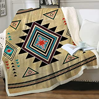 Sleepwish Sherpa Throw Blanket Reversible Fleece Blankets and Throws Southwest Vintage Design Tribal Aztec Mexican Pattern Super Soft Cozy and Plush Brown and Gold (Twin 60