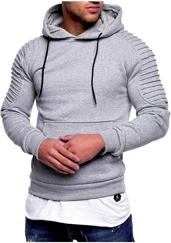 Hoodies for Men Striped Pleated Raglan Long Sleeve Solid Color Hooded Pocket Tops Fashion Hoodies & Sweatshirts Blouse