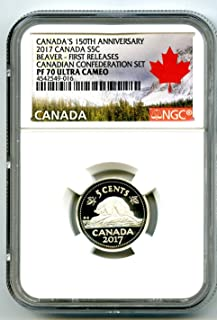 2017 CA CANADA SILVER PROOF 150TH ANNIVERSARY 5 CENT BEAVER .9999 FINE REGISTRY QUALITY FIRST RELEASES NICKEL PF70 NGC UCAM