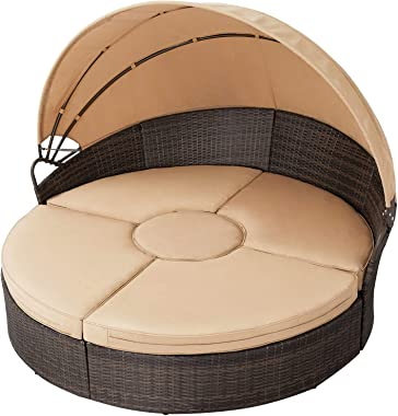SOLAURA Outdoor Round Daybed, Patio Daybed with Retractable Canopy and Brown Wicker, Seating Separates Cushioned Seats (4 Lig